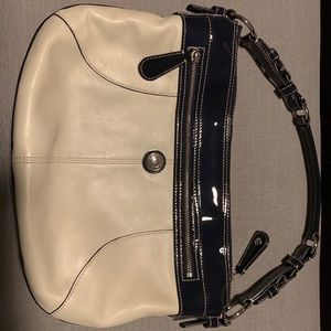 Coach Bag - navy and cream